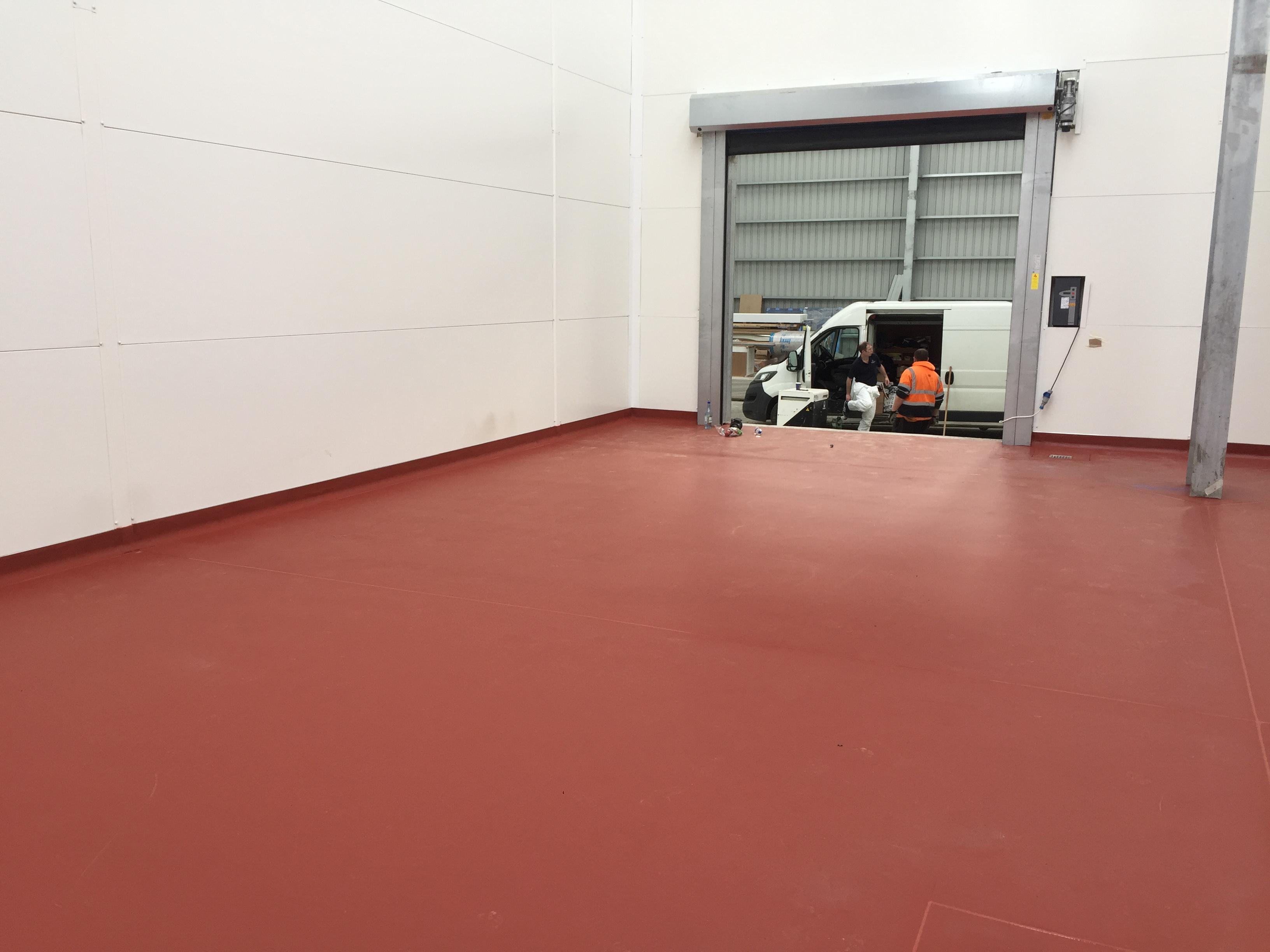 red floor roller door